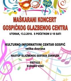 Maškarani koncert Gospićkog glazbenog centra
